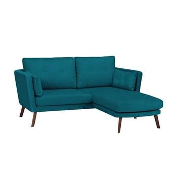 Canapea cu 3 locuri Mazzini Sofas Elena, cu șezlong pe partea dreaptă, turcoaz închis