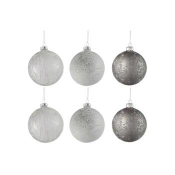 Set 6 globuri din sticlă pentru Crăciun J-Line Bauble, ø 8 cm, alb-argintiu imagine