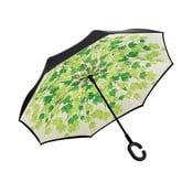Zeleno-černý deštník Ambiance Leaves, ⌀105cm