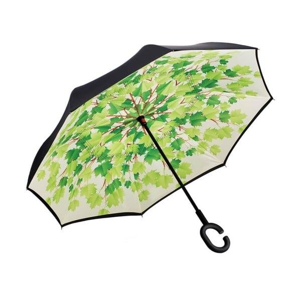 Zeleno-čierny dáždnik Leaves, ⌀105 cm