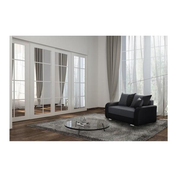 Canapea cu 2 locuri INTERIEUR DE FAMILLE PARIS Destin, negru grafit