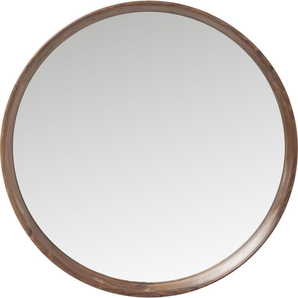 Kulaté zrcadlo s hnědým dřevěným rámem Kare Design Denver, ⌀ 80 cm