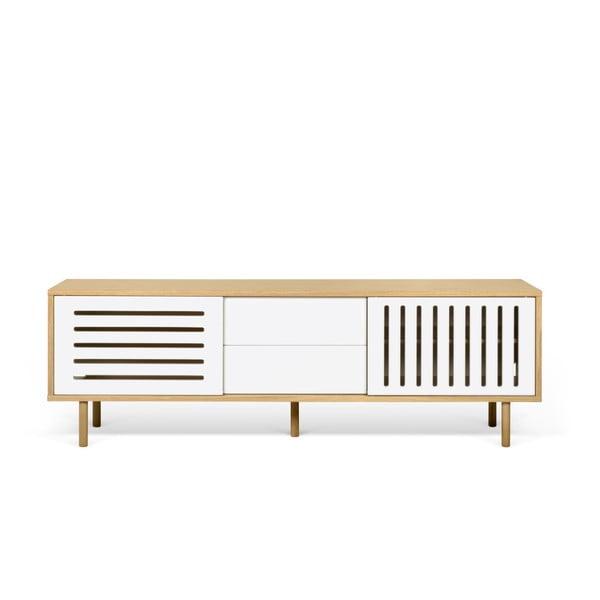 Dann Stripes tölgyfamintás TV-állvány fehér részletekkel, hosszúság 201 cm - TemaHome