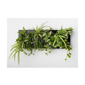 Vertikální květináč s neviditelným stojanem HOH! Duo Smart Nero, 78x27 cm