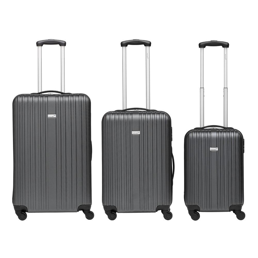 Sada 3 šedých cestovních kufrů Packenger Travel