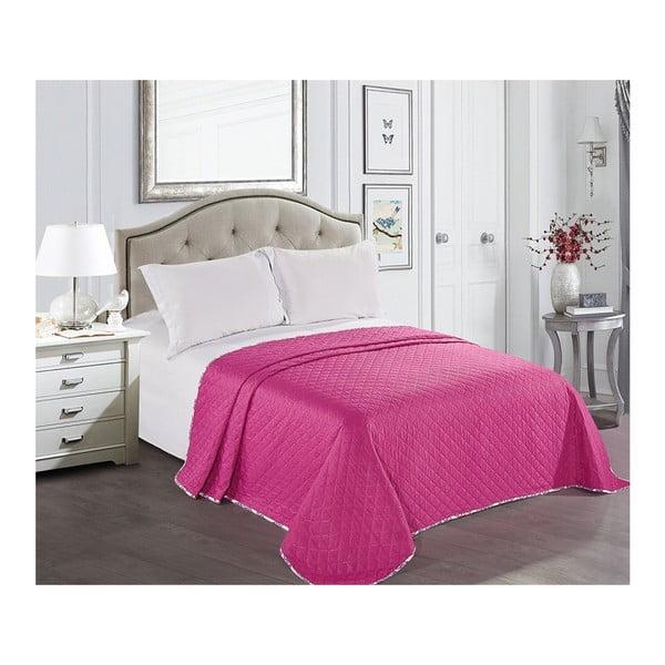 Fialovo-bílý přehoz přes postel z mikrovlákna Decoking Vivian, 220 x 240 cm
