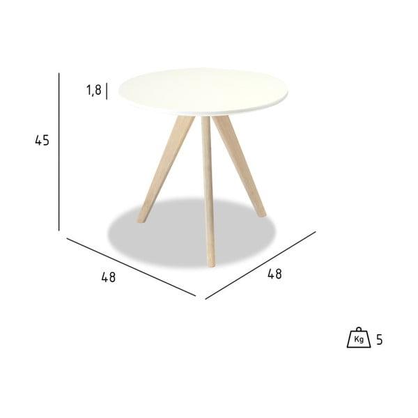 Bílý konferenční stolek s nohami z dubového dřeva Furnhouse Life, Ø48cm