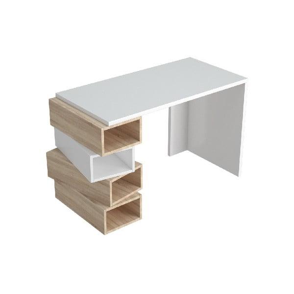 Bílý pracovní stůl se světle hnědými detaily Damon, šířka 120 cm