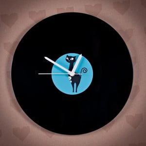 Vinylové hodiny Modrá kočka