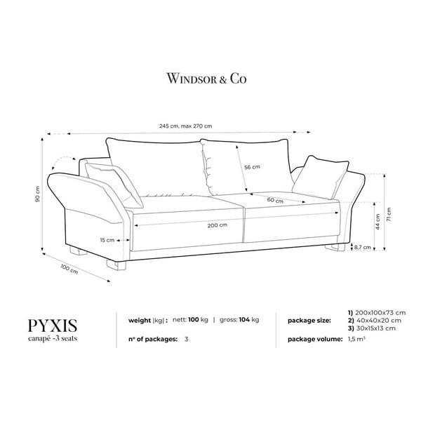 Šedý třímístná rozkládací pohovka se sametovým potahem Windsor & Co Sofas Pyxis