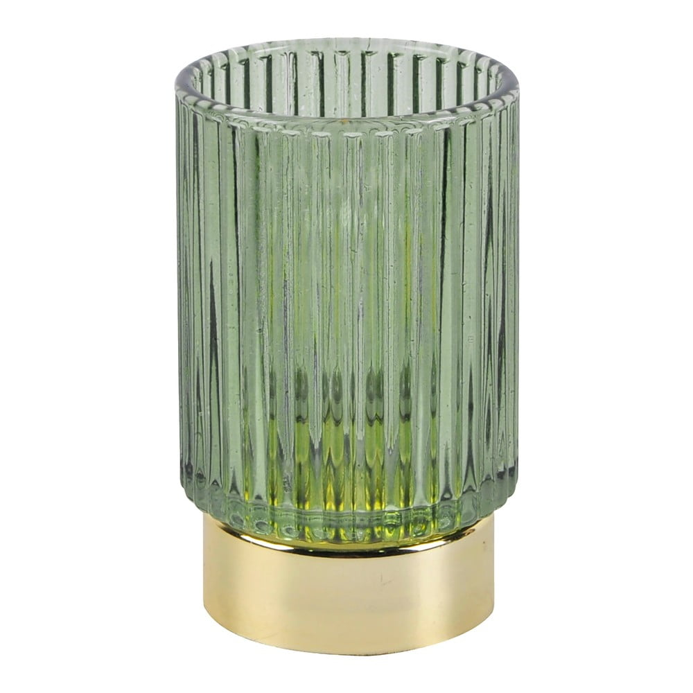 Zelená LED skleněná stolní lampa PT LIVING Ribbed