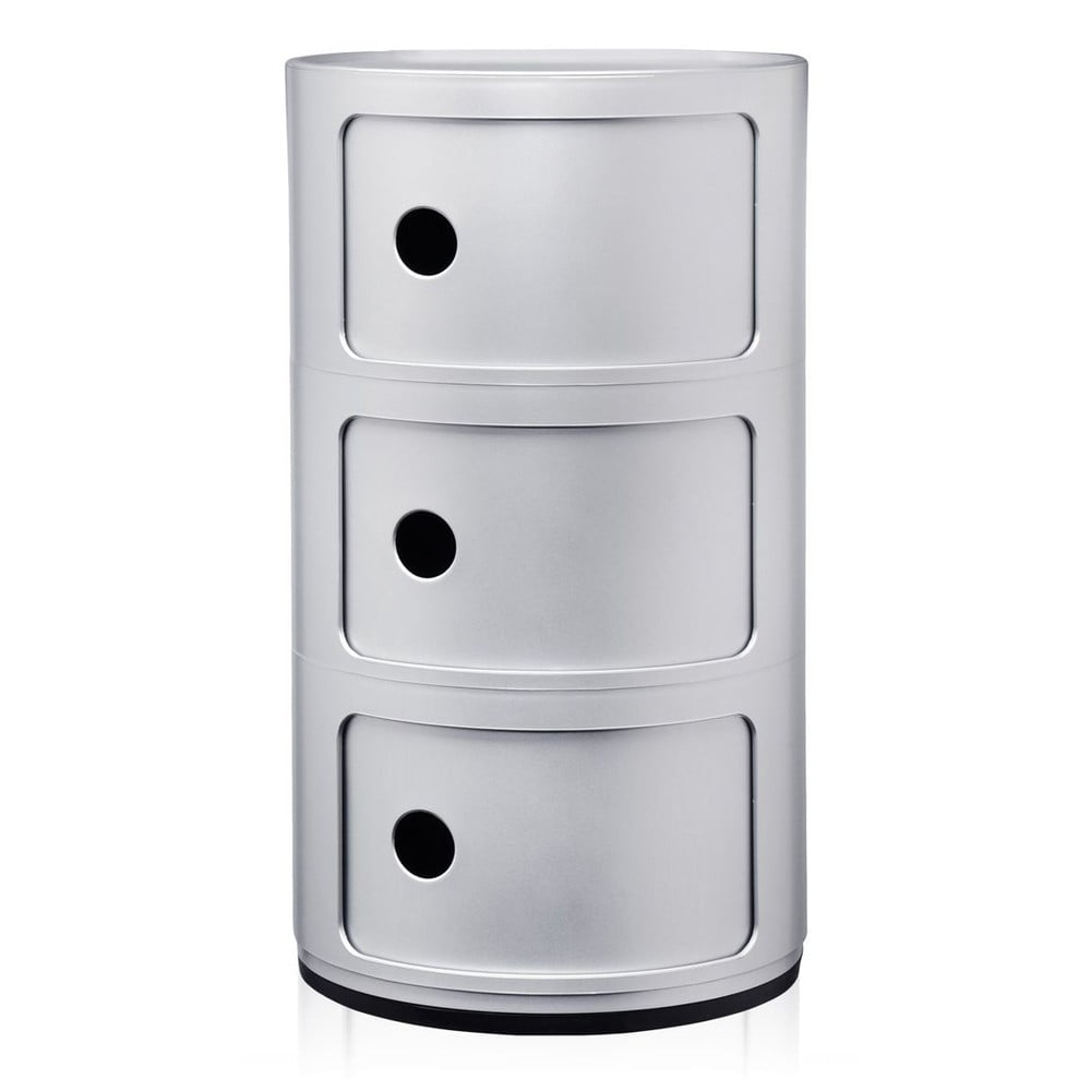 Stříbrný kontejner se 3 zásuvkami Kartell Componibili