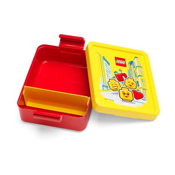 Cutie pentru gustare cu capac galben LEGO® Iconic, roşu