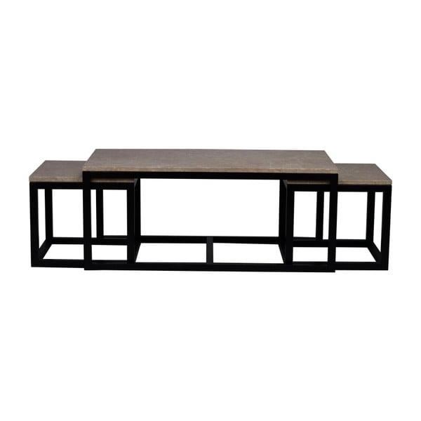 Černý konferenční stolek s mramorovou deskou Folke Sydney Cubical,120x60cm