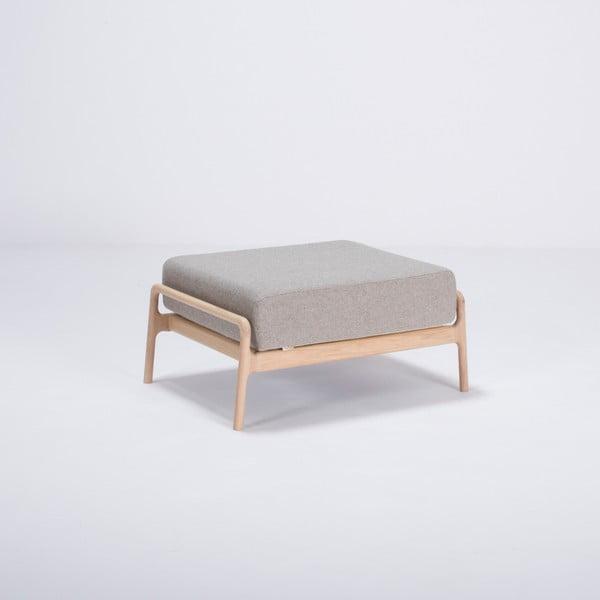 Sivá podnožka s konštrukciou z dubového dreva Gazzda Fawn