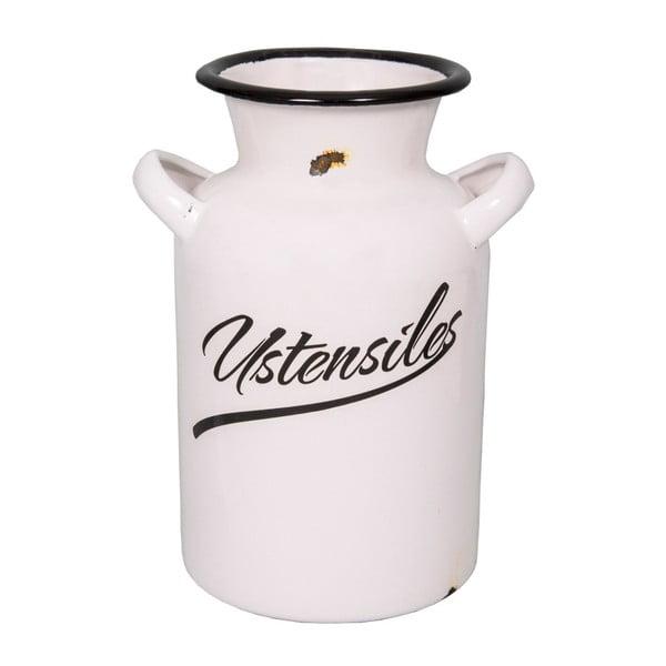 Bílý smaltovaný džbán na příbory Antic Line Classic, výška 20 cm