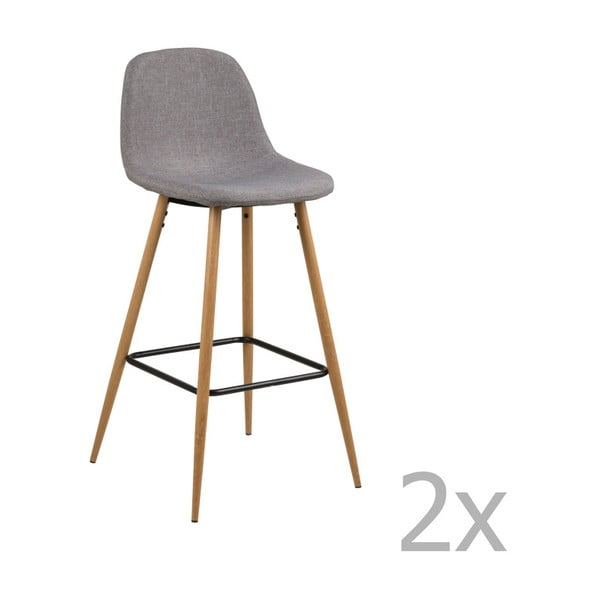 Sada 2 světle šedých barových židlí Actona Wilma Barstool Vintage