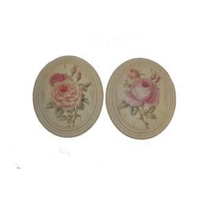 Set 2 oválných obrazů Vintage Rose