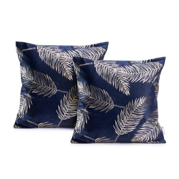 Zestaw 2 ciemnoniebieskich poszewek na poduszkę DecoKing Golden Leafes Dark Blue, 45x45 cm
