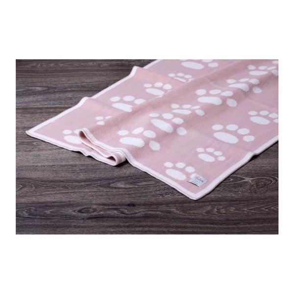 Růžová bavlněná dětská deka Baby Ecru Paws, 90 x 90 cm