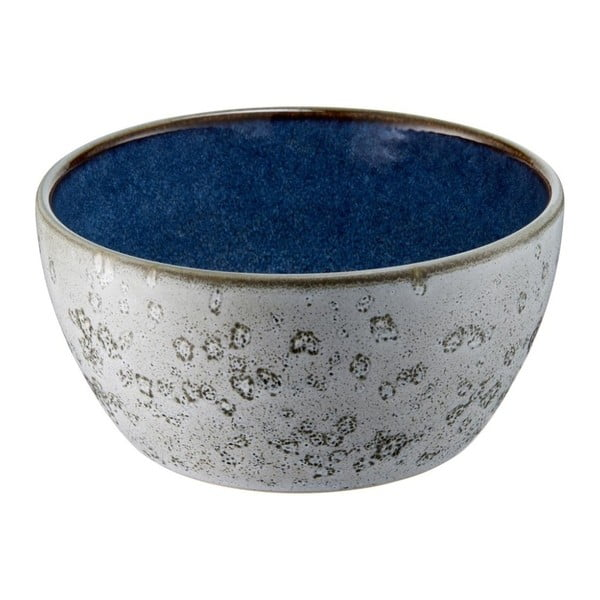 Šedá kameninová miska s vnitřní glazurou v tmavě modré barvě Bitz Mensa, průměr 12 cm