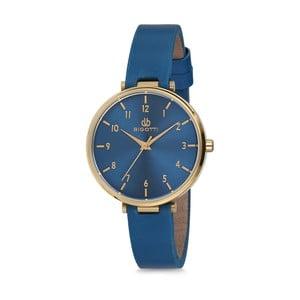 Modré dámské hodinky s koženým řemínkem Bigotti Milano Anette