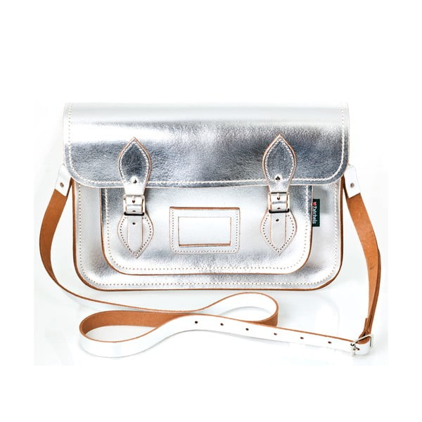 Kožená kabelka Satchel 33 cm, stříbrná
