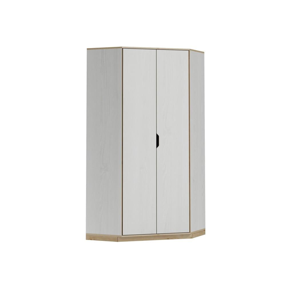 Bílá dvoudvéřová rohová šatní skříň s dřevěným dekorem Szynaka Meble Happy