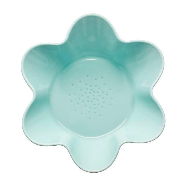 Tyrkysová porcelánová mísa Sagaform Flower, Ø 25cm