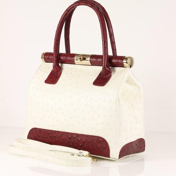 Kožená kabelka Rosalind, bílá/červená