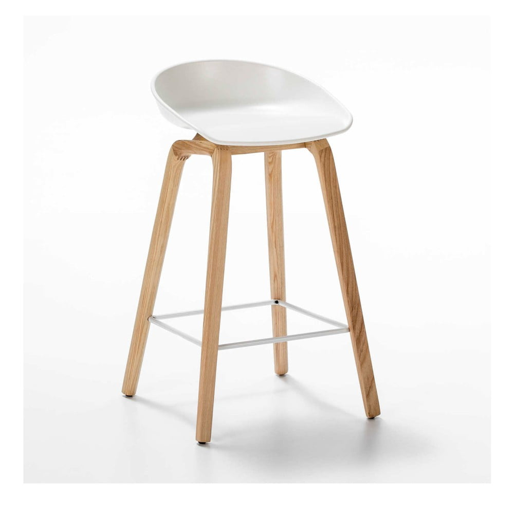 Bílá barová židle z jasanového dřeva Thai Natura