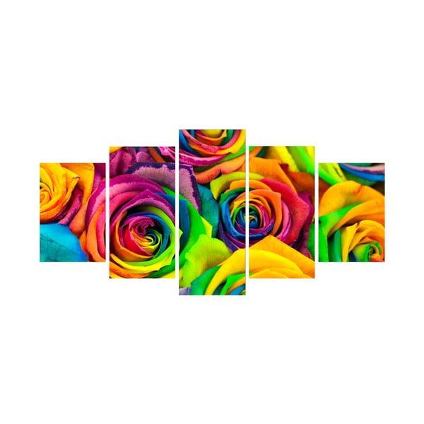 5dílný obraz Funky růže