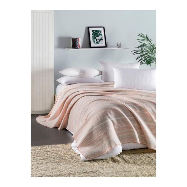 Ružová ľahká prešívaná bavlnená prikrývka cez posteľ Runino Mento, 160 x 220 cm