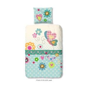 Lenjerie de pat din bumbac pentru copii Muller Textiel Cute Love, 140 x 200 cm