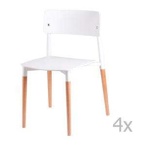 Set 4 scaune cu picioare din lemn sømcasa Claire, alb