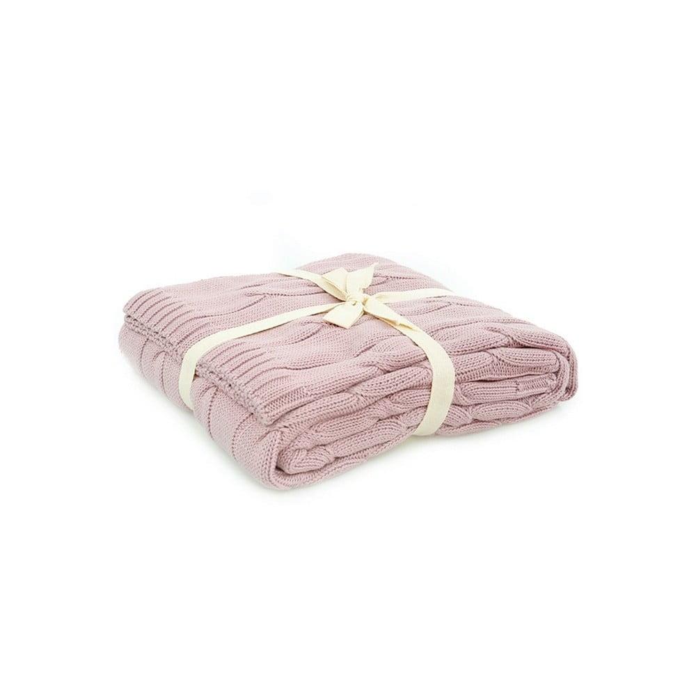 Růžová bavlněná deka Couture, 130 x 170 cm