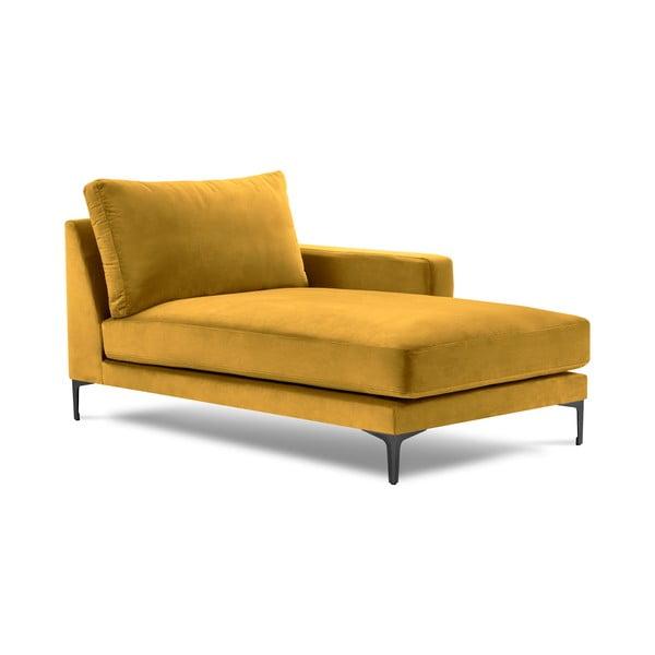 Żółty aksamitny szezlong Kooko Home Harmony, prawostronny