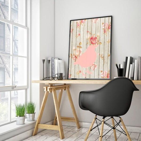 Plakát v dřevěném rámu Flower bird, 38x28 cm