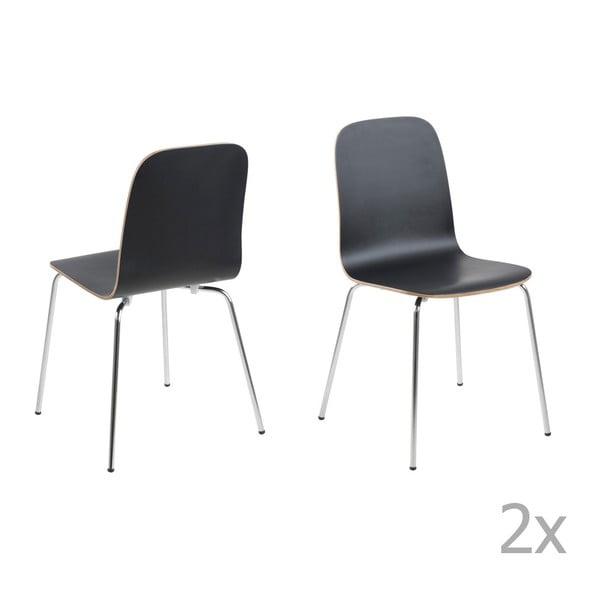 Sada 4 černých jídelních židlí Actona Björn