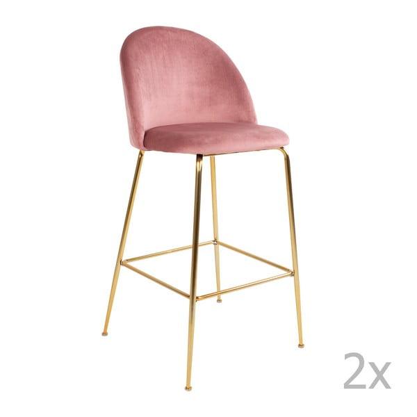 Lausanne 2 db rózsaszín bárszék bársonyhuzattal és rézszínű lábakkal - House Nordic
