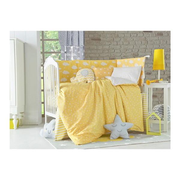 Žlutý ochranný bavlněný mantinel do dětské postýlky Apolena Carino, 40 x 210 cm