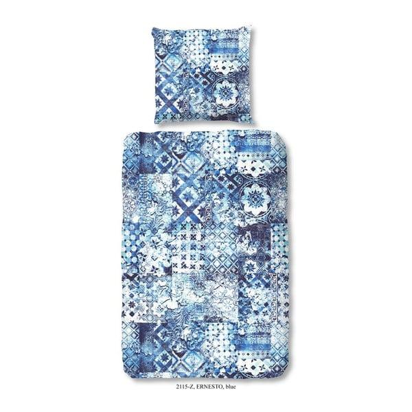 Pościel jednoosobowa z satyny bawełnianej zouzou Ernesto Blue, 135x200 cm