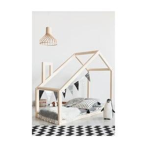 Cadru pat din lemn de pin, în formă de căsuță Adeko Mila DM, 140 x 200 cm