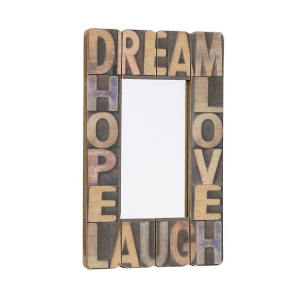 Zrcadlo Dream, Hope, Love, Laugh, 60x40 cm