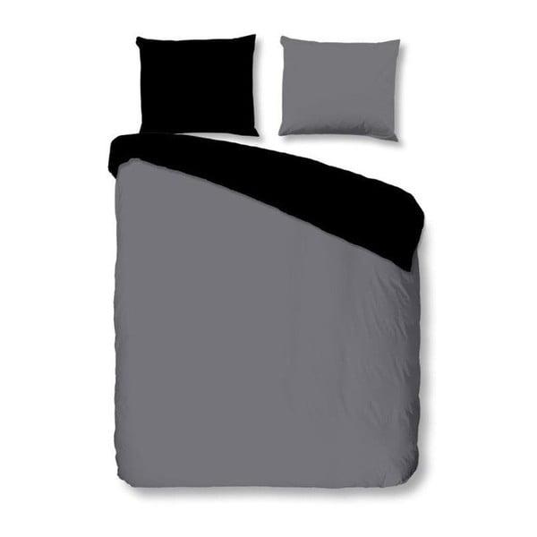 Šedo-černé povlečení na dvoulůžko z bavlněného saténu Muller Textiels Uni, 200 x 240 cm