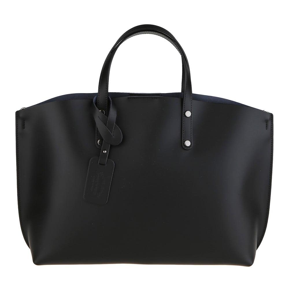 Černá kožená kabelka Chicca Borse City 895b178644