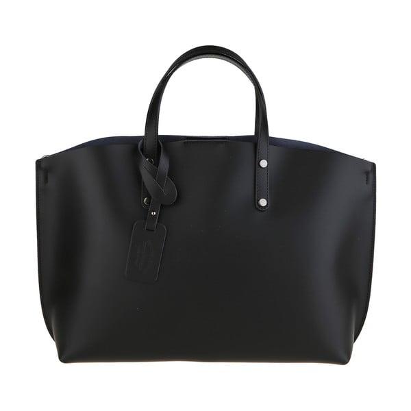 Čierna kožená kabelka Chicca Borse City