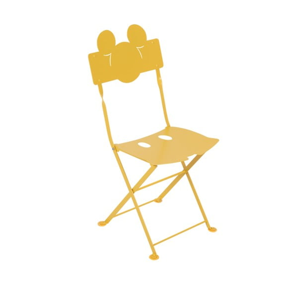 Sada 2 žlutých dětských kovových zahradních židlí Fermob Bistro Mickey Junior
