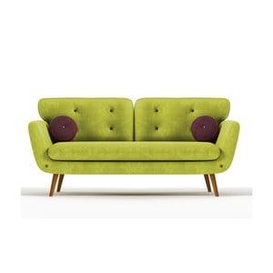 Sofa Alva pro tři, zelená/fialová