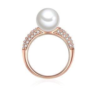 Prsten v barvě růžového zlata s bílou perlou Perldesse Musche, vel. 52